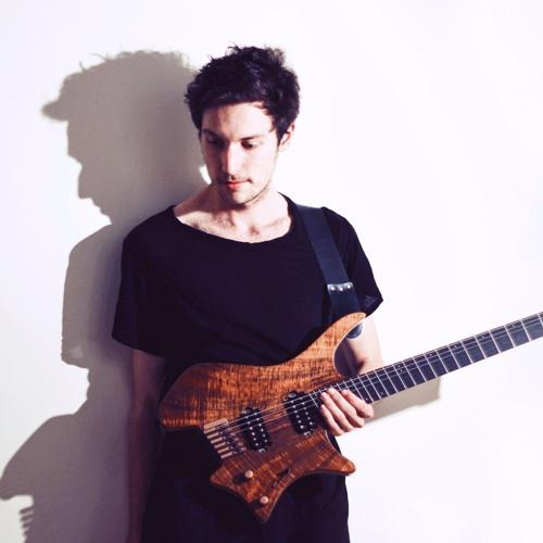 Plini holding his wooden guitar in a black shirt against a white background with a heavy shadow.