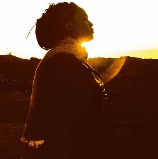 Performer Spellfish in a field with the sun setting behind her silhouette